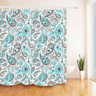 Shower Curtain Bathroom Mat Waterproof Fabric Vintage Paisley Abstract Floral