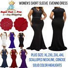 Women Long Evening Party Formal Dress Plus Size Rhinestone Cocktail Short Sleeve