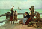 "E. LAURENT ""Sailor's Goodbye"" FAREWELL family tears voyage ship children CANVAS"