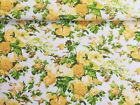 Vintage PolyCotton Fabric Yellow White Green Summer Floral Flower Material Craft