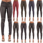 Womens High Waist Leather Look Stretchy Skinny Fit Trousers Leggings Size 6-14