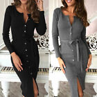 US STOCK Women Long Sleeve Buttons Down Pencil Dress Evening Party Bandage Dress