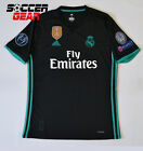 Real Madrid Away Black Short Sleeve Jersey 17-18 UEFA Champions League Climacool