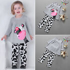 2pcs Kids Baby Girls Outfits Casual T-shirt Tops Long Pants Leggings Clothes Set