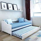 Day Bed with Pull Out Trundle White Wooden Frame Single 3FT Guest Sofa Daybed