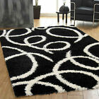 SPRING PATTERN BLACK BEST QUALITY CLEARANCE RUG 5CM THICK PILE MODERN SHAGGY RUG