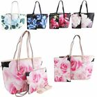 New Floral Butterfly Print Faux Leather Ladies Shoulder Clutch Bag Set