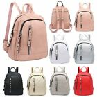 New Faux Leather Front Zip Pocket Ladies Casual Mini Backpack Rucksack