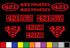 421 CI V8 POWERED 10 DECAL SET ENGINE STICKERS EMBLEMS FENDER BADGE DECALS
