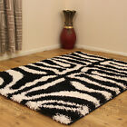 MODERN ZEBRA RUG BLACK WHITE 5CM THICK  QUALITY RUG SHAGGY CLEARANCE RUG SALE