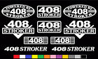10 DECAL SET 408 V8 POWERED ENGINE STICKERS EMBLEMS STROKER SMALL BLOCK DECALS