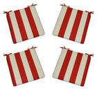 Set of 4 - Foam Cushion with Ties Red and White Stripe Fabric - Choose Size