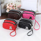 Cute Bear Wallet Washer PU Purse Three Zippers Portable Make Up bag 5 Colors