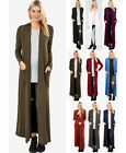S-3X Women's Full Length Maxi Cardigan Duster Open Front Sweater Long Sleeve