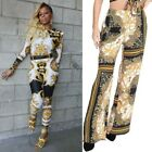New Celebrity Inspired Baroque Wide Leg Fashion Plazzo Trousers Pants UK 6-14