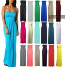 NEW LADIES STRAPLESS GATHER SHEERING BOOB TUBE BANDEAU MAXI DRESS 8-22