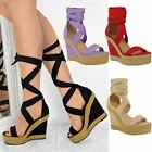 Womens Ladies Wedge High Heels Platform Lace Up Sandals Summer New UK Shoes Size