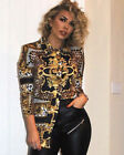 Ladies Leopard Scarf Print Gold Shirt Blouse Long Sleeve Buttons Top Dress