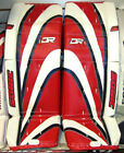 Внешний вид - New DR Sonic X9 Sr ice hockey goal leg goalie pads 32/33 Red/Blue, Gold, Black