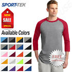 Sport-Tek Mens 100% Cotton Raglan 3/4 Sleeve Colorblock Baseball T-Shirt M-T200
