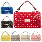 Women's New Faux Leather Quilted Studded Top Handle Shoulder Bag