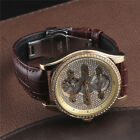 High Quality Mens Automatic Mechanical Watches Bling Rhinestone Leather Fashion