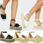 Ladies Womens Low Wedge Espadrille Sandals Platform Rose Gold Summer Shoes Size