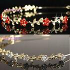 Flower Girl Prom Bridesmaid Red / Clear  Crystal Gold Plat Headband Tiara T055RG