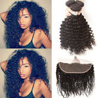 Brazilian Curly Virgin Human Hair 3Bundle With 13*4 Lace Frontal Closure Weft MY