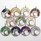 Amethyst Rose Quartz Crystal Chip Beads Chakra Tree of Life Pendant For Necklace