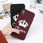 King Queen Couple Case Soft Rubber Slim Cover Matte Case for iPhone 7 8 X XS Max