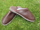 MENS 100% MOROCCAN  LEATHER  *  BROWN  * SLIP ON'S * MULES 3 Sizes available