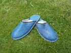MENS 100% MOROCCAN  LEATHER  *  BLUE  * SLIP ON'S * MULES