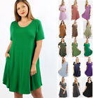 S-3X Premium Soft Knit Casual T-Shirt Dress Solids Basic Short Sleeve Loose Fit
