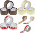 New 2 Pack Strong CLEAR BROWN FRAGILE Tape Parcel Packing Sellotape Sealing UK ✔