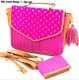 Women silk sling crush Handbag Lady Shoulder Bags clutch Purse bag 2pcs set