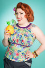 Miss Fortune Hawaiian INTO THE SUNSET TOP green tiki tropical pinup halter retro