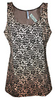 Womens B.C Long Vest Tank Top Figure Fit Animal Print Black & Beige Size 6 to 14