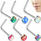Nose L-Bend Ring Stud 20g 2.5mm Opal Stone Flat Top 316 L Surgical Steel Stud image