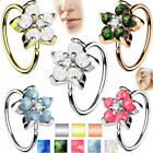 Nose Ring Cartilage Hoop Opal Glitter Flower Petals Center 316l Surgical Steel
