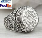 Turkish 925 Sterling Silver no stone Solomon's Seal Mens Mans Ring ALL SİZE us
