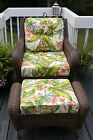 SEAT, BACK & OTTOMAN CUSHIONS FOR DEEP SEATING-TOMMY BAHAMA PINK GREEN TROPICAL