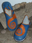 FUNKY LEATHER MOROCCAN BABOUCHE SLIPPERS BLUE ALL SIZES