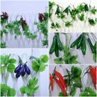 Hanging Artificial Fake Silk Grapes Peppers Cherry Fruit Vegetable Ivy Vine Deco