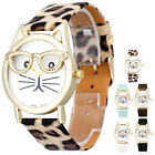 Cute Cat Women Girl Fashion Leather Band Analog Quartz Dial Wrist Watch Watches image