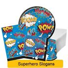 Superhero Slogans Range Tableware Balloons Decorations - CP 1C