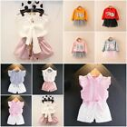 2PCS Toddler Kids Baby Girl Dress Outfits Tops Shirt+Skirt/Shorts/Dress Clothes