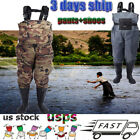 Men's Waterproof  Fly Fish Waders Breathable Chest Wader+Stocking Foot+Shoes