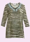 Ulla Popken NEW Khaki striped Embellished Cotton Jersey Top Plus Sizes 20 to 30
