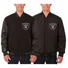 Oakland Raiders Wool & Leather Reversible Jacket  Black JH Design